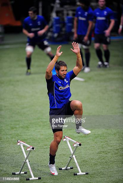 Wales player Gavin Henson in action during Wales Training at the Vale Complex on May 30 2011 in Cardiff Wales