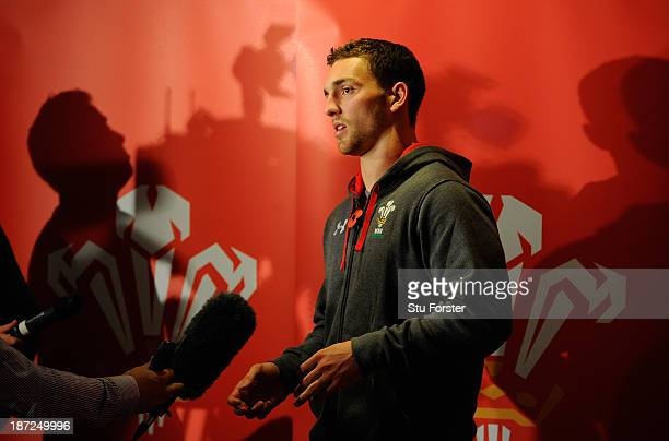Wales player George North faces the press during a Wales press conference ahead of the game against South Africa Springboks on saturday at the Vale...