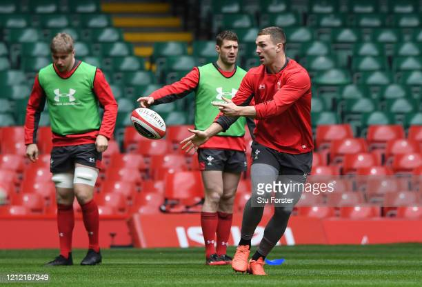 Wales player George North in action during the Wales Captains Run ahead of the Six Nations match against Scotland at Principality Stadium on March...