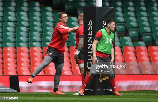 Wales player George North warms up during the Wales Captains Run ahead of the Six Nations match against Scotland at Principality Stadium on March 13,...