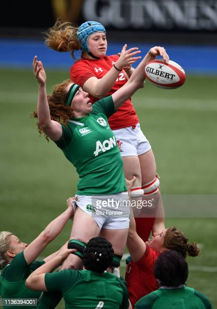 Wales player Gwen Crabb and Aoife McDermott compete for a lineout ball during the Wales Women v Ireland Women match in the Women's Six Nations at...