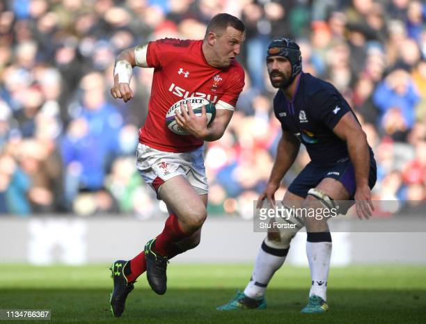 Wales player Hadleigh Parkes makes a break during the Guinness Six Nations match between Scotland and Wales at Murrayfield on March 09 2019 in...