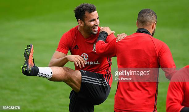 Wales player Hal Robson Kanu shares a joke with team mates during training ahead of their FIFA World Cup qualifier against Moldova at the Hensol Vale...