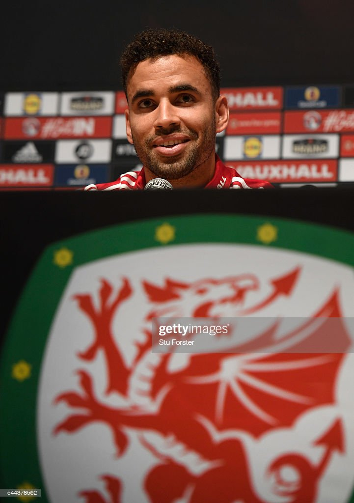 Wales player Hal Robson-Kanu faces the media at the Wales press conference ahead of their Euro 2016 semi final against Portugal at their Dinard base on July 3, 2016 in Dinard, France.
