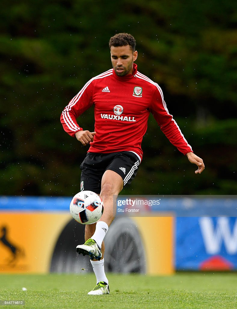 Wales player Hal Robson-Kanu in action during Wales training ahead of their UEFA Euro 2016 semi final against Portugal at College Le Bocage on July 4, 2016 in Dinard, France.