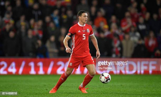 Wales player James Chester in action during the International Friendly match between Wales and Panama at Cardiff City Stadium on November 14 2017 in...