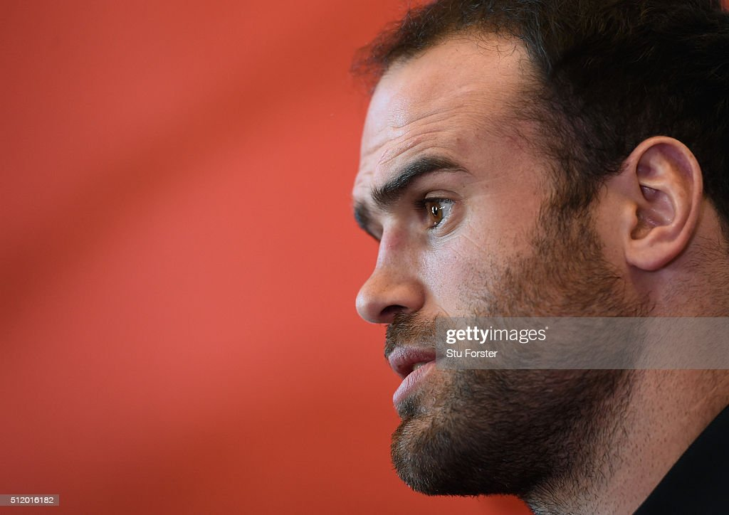Wales player Jamie Roberts faces the media during a Wales Press conference ahead of their RBS Six Nations match against France, at The Vale Hotel on February 24, 2016 in Cardiff, Wales.