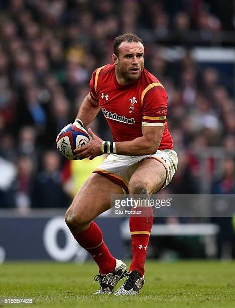 Wales player Jamie Roberts in action during the RBS 6 Nations match between England and Wales at Twickenham Stadium on March 12 2016 in London England