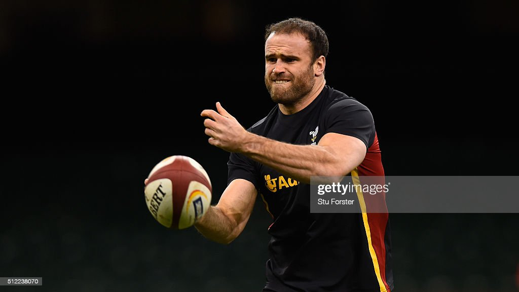 Wales player Jamie Roberts in action during the Wales captain's run ahead of their RBS Six Nations match against France at Principality Stadium on February 25, 2016 in Cardiff, Wales.