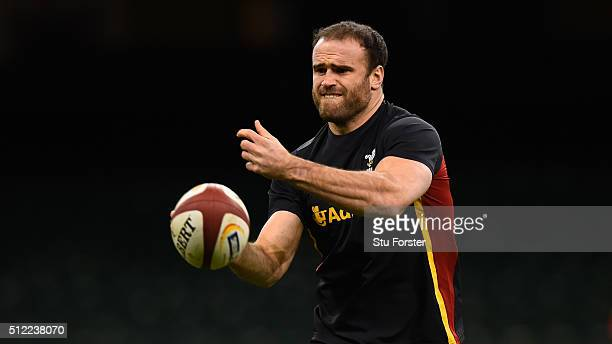Wales player Jamie Roberts in action during the Wales captain's run ahead of their RBS Six Nations match against France at Principality Stadium on...