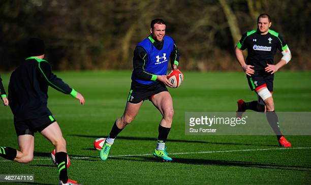 Wales player Jamie Roberts runs with the ball during the Wales open training session ahead of friday's 6 Nations match against England at the Vale...
