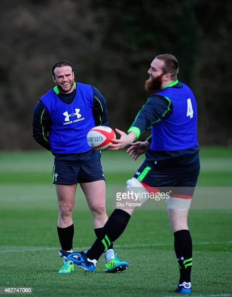 Wales player Jamie Roberts shares a joke with Jake Ball during the Wales media day ahead of friday's 6 Nations match against England at the Vale...