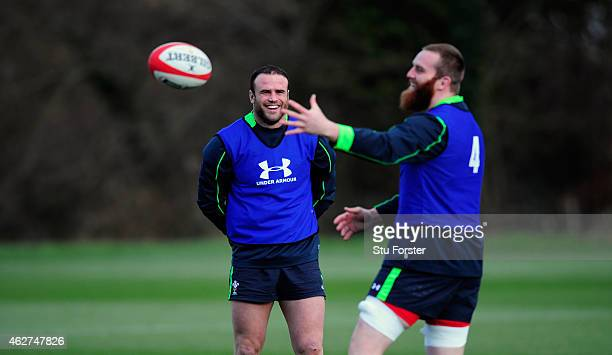 Wales player Jamie Roberts shares a joke with Jake Ball during the Wales open training session ahead of friday's Six Nations match against England at...