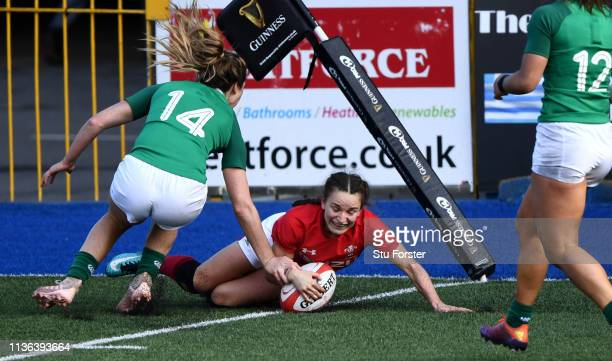 Wales player Jasmine Joyce scores the final try during the Wales Women v Ireland Women match in the Women's Six Nations at Cardiff Arms Park on March...