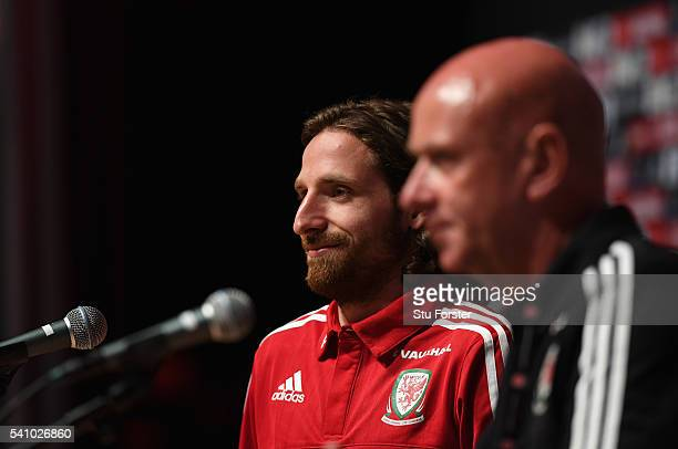 Wales player Joe Allen faces the media during a Wales press conference at their Euro 2016 basecamp on June 18 2016 in Dinard France