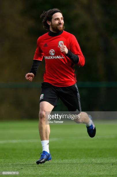 Wales player Joe Allen in action during a Wales Open Training session ahead of their World Cup Qualifier against the Republic of Ireland at the Vale...