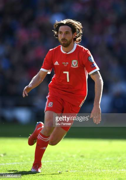 Wales player Joe Allen in action during the 2020 UEFA European Championships group qualifying match between Wales and Slovakia at Cardiff City...
