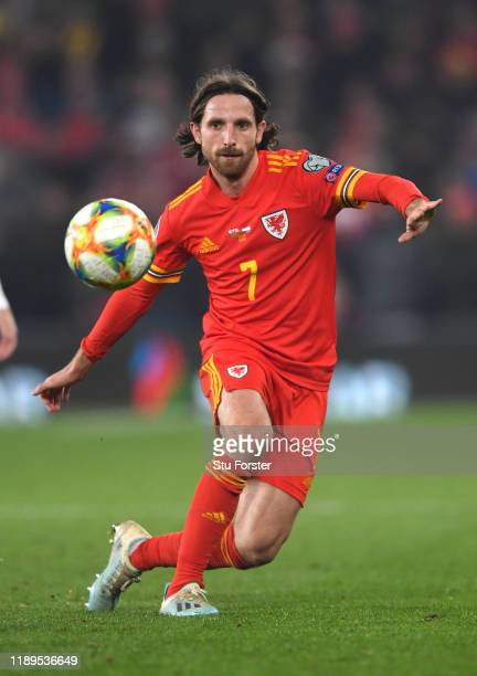 Wales player Joe Allen in action during the UEFA Euro 2020 qualifier between Wales and Hungary at Cardiff City Stadium on November 19, 2019 in...