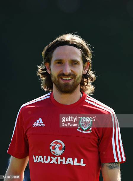 Wales player Joe Allen raises a smile during Wales training at their Euro 2016 basecamp on June 18 2016 in Dinard France