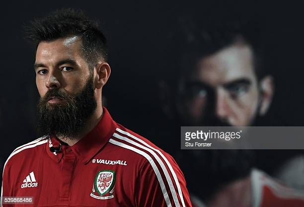 Wales player Joe Ledley faces the press during the Wales press conference at their Euro 2016 base camp on June 13 2016 in Dinard France