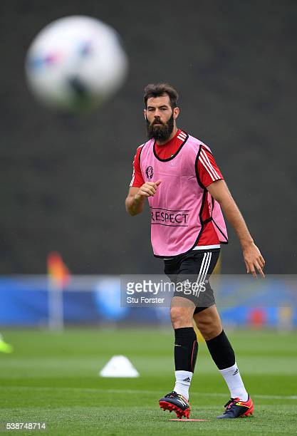 Wales player Joe Ledley in action during an open Euro 2016 Wales training session at the Wales training base on June 8 2016 in Dinard France