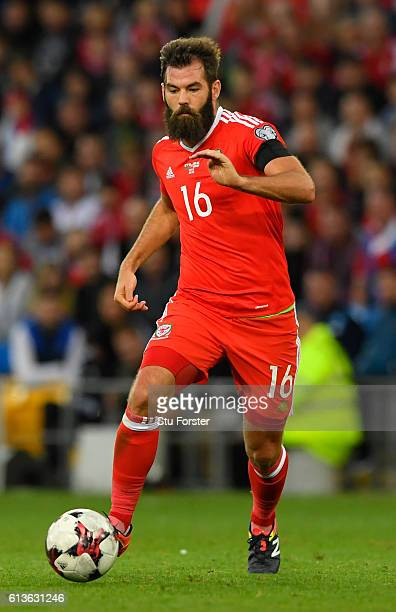 Wales player Joe Ledley in action during the FIFA 2018 World Cup Qualifier between Wales and Georgia at Cardiff City Stadium on October 9 2016 in...