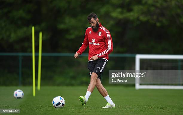 Wales player Joe Ledley in action during Wales training at the Vale hotel complex on June 1 2016 in Cardiff Wales