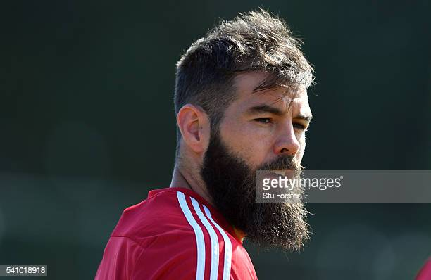 Wales player Joe Ledley looks on during Wales training at their Euro 2016 basecamp on June 18 2016 in Dinard France