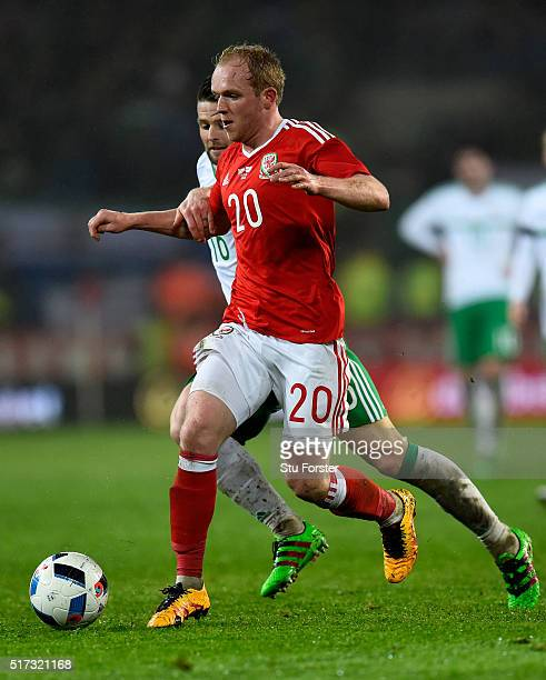 Wales player Jonathan Williams in action during the International friendly match between Wales and Northern Ireland at Cardiff City Stadium on March...