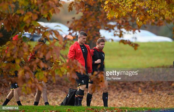 Wales player Leigh Halfpenny and Scott Williams make their way to Wales training in the lead up to the game against Australia at the Vale Hotel on...