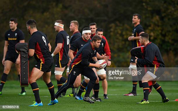 Wales player Leigh Halfpenny in action during Wales training in the lead up to the game against Australia at the Vale Hotel on November 3, 2016 in...