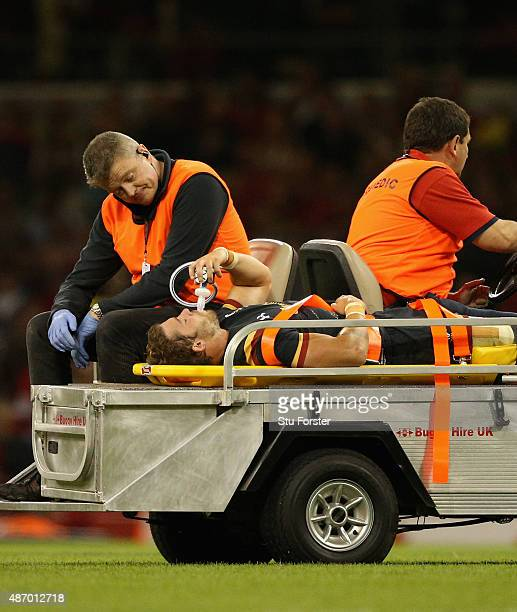 Wales player Leigh Halfpenny is stretchered off during the International match between Wales and Ireland at Millennium Stadium on September 5 2015 in...