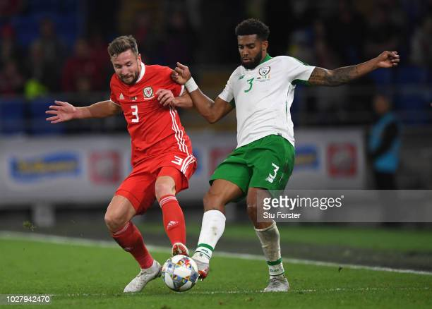 Wales player Paul Dummett challenges Cyrus Christie of Republic of Ireland during the UEFA Nations League B group four match between Wales and...