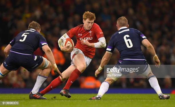 Wales player Rhys Patchell runs at the Scotland defence during the NatWest 6 Nations game between Wales and Scotland at Principality Stadium on...