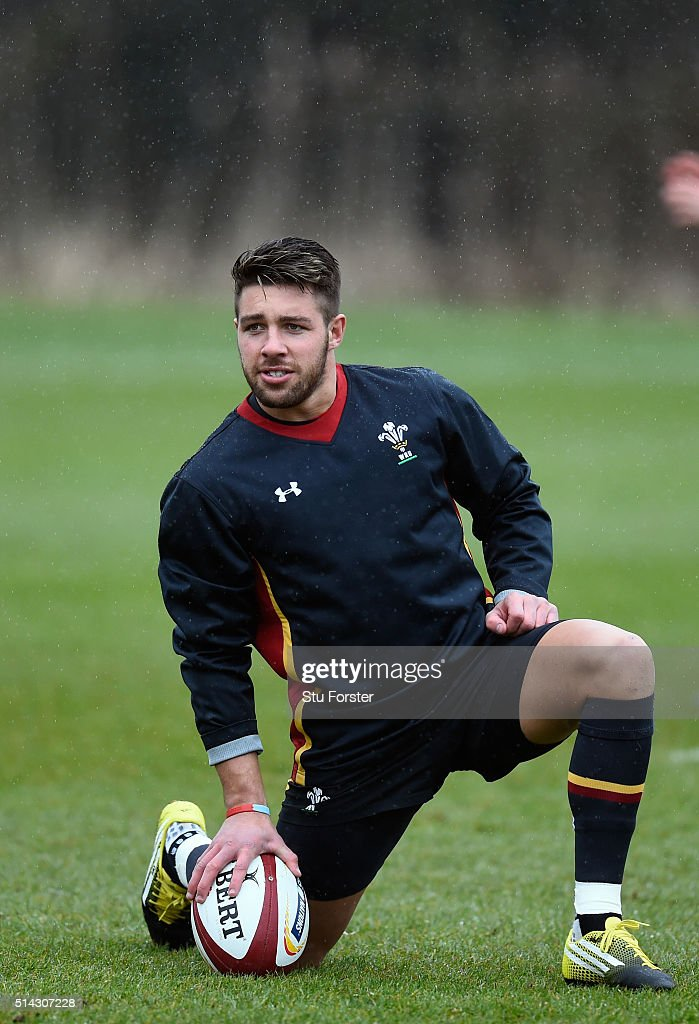 Wales player Rhys Webb looks on during training ahead of their RBS Six Nations match against England, at The Vale Hotel on March 8, 2016 in Cardiff, Wales.