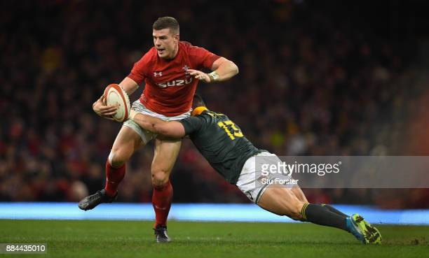 Wales player Scott Williams breaks the tackle of Jesse Kriel of the Springboks during the International between Wales and South Africa at at...