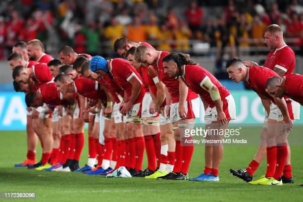 Wales' players bow to the fans after their 2925 victory in the Rugby World Cup 2019 Group D game between Australia and Wales at Tokyo Stadium on...