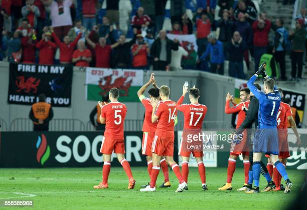 Wales players celebrate towards their fans after the FIFA 2018 World Cup Qualifier between Georgia and Wales at Boris Paichadze Dinamo Arena Tbilisi...