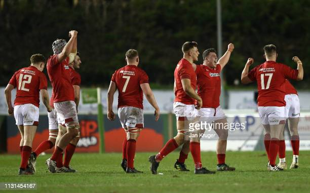 Wales players celebrate victory at the final whistle during the Wales U20 v England U20 match in the Under 20 Six Nations Championships at ZipWorld...