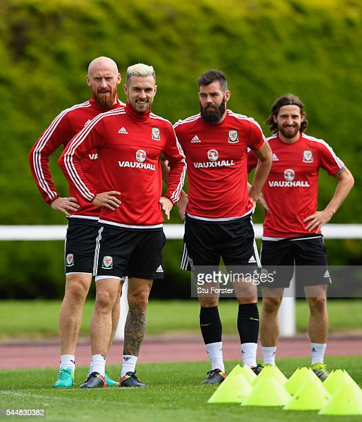 Wales players from left to right James Collins, Aaron Ramsey, Joe Ledley,and Joe Allen share a joke during Wales training ahead of their UEFA Euro...