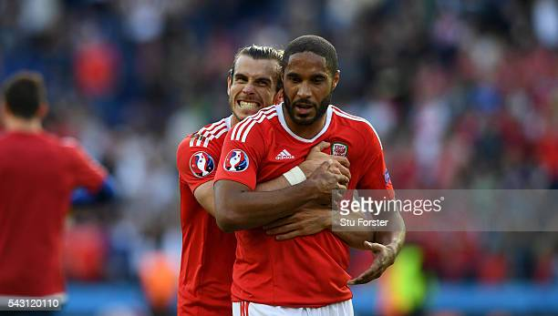 Wales players Gareth Bale and Ashley Williams celebrate after the Round of 16 UEFA Euro 2016 match between Wales and Northern Ireland at Parc des...