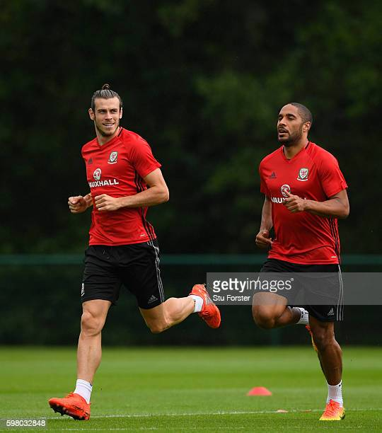 Wales players Gareth Bale and Ashley Williams in action during Wales training ahead of their FIFA World Cup qualifier against Moldova at the Hensol...