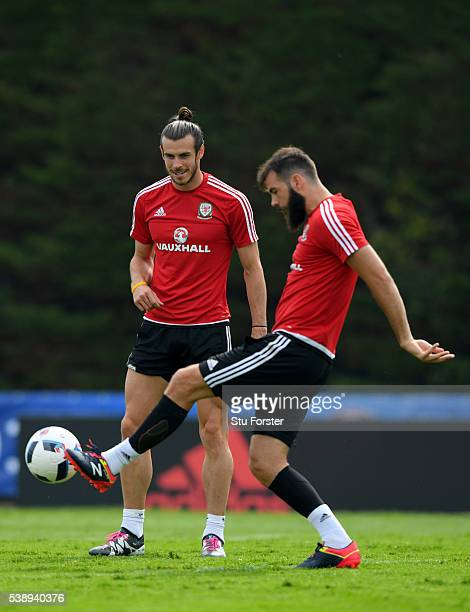 Wales players Joe Ledley and Gareth Bale in action during a Euro 2016 Wales training session at the Wales training base on June 9 2016 in Dinard...