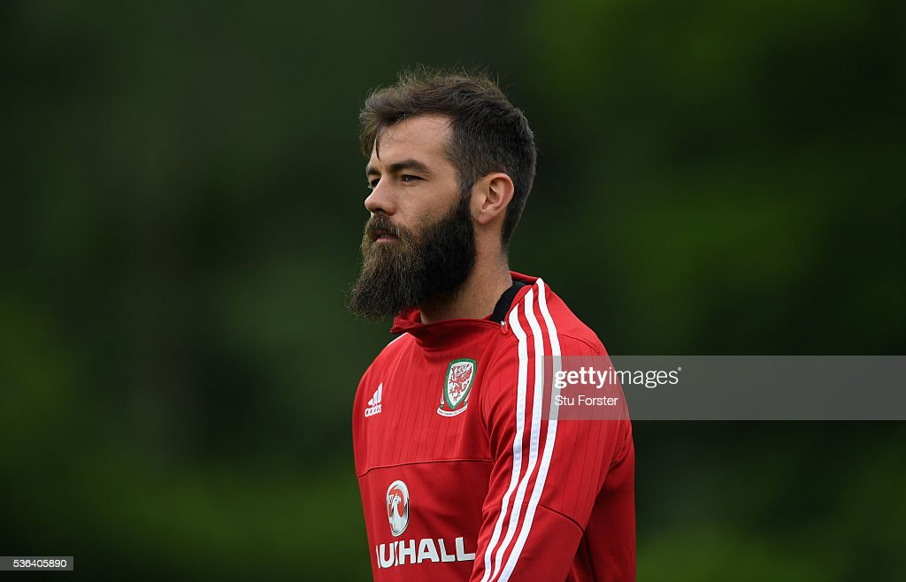 Wales players Joe Ledley looks on during Wales training at the Vale hotel complex on June 1, 2016 in Cardiff, Wales.