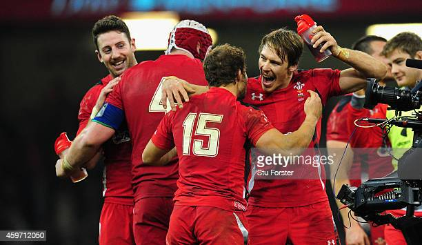 Wales players Leigh Halfpenny and Liam Williams celebrate after the Autumn international match between Wales and South Africa at Millennium Stadium...