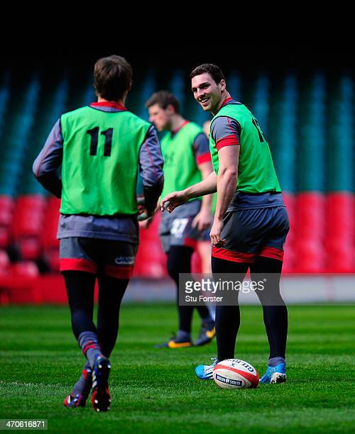 Wales players Liam Williams and George North share a joke during the Wales captains run ahead of tomorrow nights six nations game against France at...