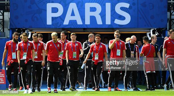 Wales players make their way onto the pitch during Wales Open Session prior to their Euro 2016 match against Northern Ireland at Parc des Princes on...