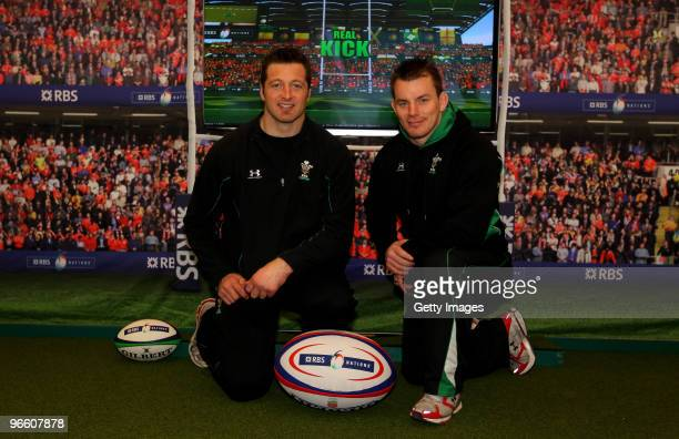 Wales players Matthew Rees and Ian Gough look on during the RBS Rugby challenge at St David's Centre on February 12 2010 in Cardiff Wales