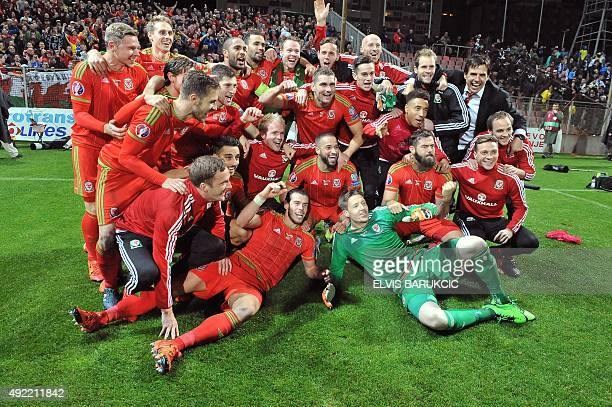 Wales' players pose after the Euro 2016 qualifying football match between Bosnia and Herzegovina and Wales, in Zenica, on October 10, 2015. The...