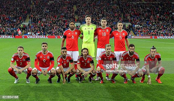 Wales players pose for a team picture during the 2018 FIFA World Cup Qualifier between Wales and Serbia at the Cardiff City Stadium on November 12...
